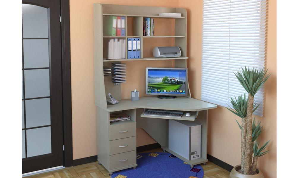 Письменные столы с полками и ящиками, основные характеристик.